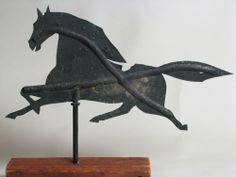 Antique American Folk Art Running Horse Metal Weathervane
