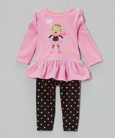 This Pink Monkey Tunic & Polka Dot Leggings - Infant & Toddler by Watch Me Grow is perfect! #zulilyfinds