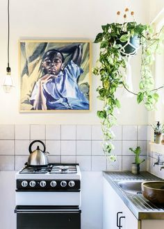 Small, earthy kitchen with hanging plant, painting, and tiny stove