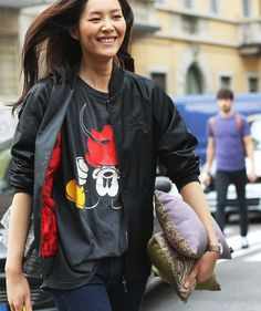 Mickey Mouse at #mfw #streetstyle