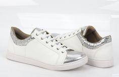 Tênis branco - Metalizado - Prata - Tendência - Ref. 16-12406