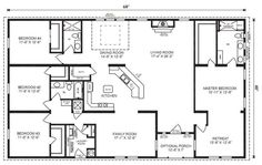 Simple Four Bedroom House Plans - 4-Bedroom Ranch House Floor Plans