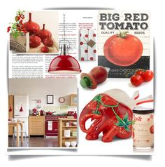 """The tomato is a fruit."" by queenofsienna ❤ liked on Polyvore featuring interior, interiors, interior design, home, home decor, interior decorating, Primitives By Kathy, Seletti, The Elephant Family and Golden Lighting"