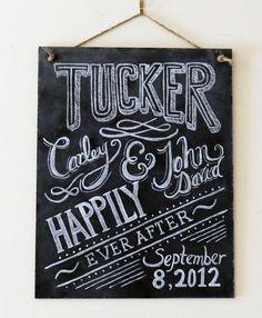 Custom Wedding Chalkboard Sign  Chalkboard Art  Gift by LilyandVal, $95.00