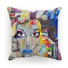 Street Art Lady Portrait Cushion