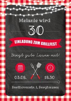 Trendy Einladungskarte in rustikalem Look zur 30. Geburtstags-Grillparty