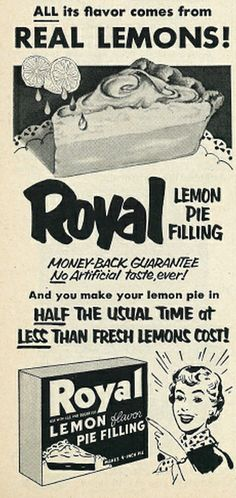 Royal Lemon Pie Filling ad, 1953. ... wall art for kitchen?
