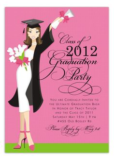 Super cute luxury graduation party announcement or party invitations let you graduation day remembered in style with these chic graduation invitations the elegant background design continued on the back of the card stopboris Choice Image
