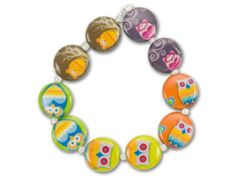 Decoupage Coin Yellow, Blue and Pink Owl Bird Bead Strand