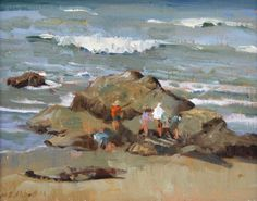 At Play in the Rocks, Meredith Brooks Abbott (1938); 2014; Oil on canvas