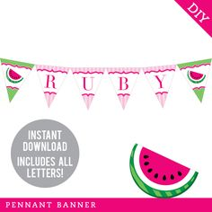 Pink Watermelon Birthday Iron-On - Mom/Dad/Family of the Birthday Girl - Customize for any wearer! Smash Cake First Birthday, Happy Birthday Name, Pennant Banners, Name Banners, Bunting, Watermelon Birthday Parties, Diy Organisation, Triangle Print, Printable Banner