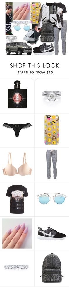 """Samedi 05 Décembre 2015 Matin (11H)"" by laurie-bieber ❤ liked on Polyvore featuring Yves Saint Laurent, De Beers, Kiki de Montparnasse, Casetify, H&M, OBEY Clothing, Marcelo Burlon, Christian Dior, VFiles and NIKE"