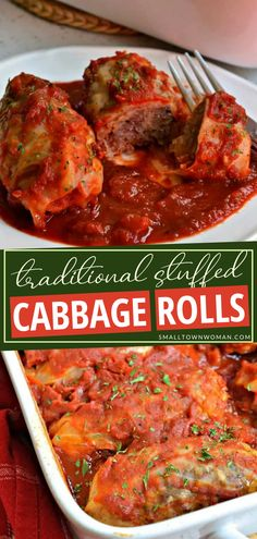 The perfect comfort food to make for dinner tonight! This traditional Stuffed Cabbage Rolls are made with ground sausage and ground beef with a sweet and tangy tomato sauce. It is an easy family-friendly recipe that will quickly become a regular at your dinner table! Save this casserole dish for later! Ground Sausage, Ground Beef, Easy Casserole Recipes, Casserole Dishes, Beef Dishes, Veggie Dishes, Cabbage Rolls Recipe, Beef And Rice, Dinner Table