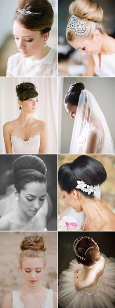 Audrey Hepburn style classic bun wedding updos