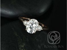Rosados Box Gloria 9x7mm 14kt Rose Gold Oval F1- Moissanite and Diamonds 3 Stone Engagement Ring