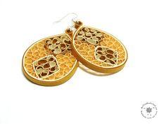 Mustard Paper Dangle Earrings - Paper quilling Jewelry - Eco Friendly Jewelry - lightweight  earrings- Tear Shaped earrings - brown