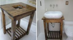 Ikea Bekvam kitchen cart --> Bathroom Sink we could use this with the stone sink. Ikea Hack Vanity, Ikea Hack Bathroom, Ikea Sinks, Bathroom Table, Bathroom Vanity Makeover, Vanity Sink, Industrial Bathroom Vanity, Vanity Stool, Bath Vanities