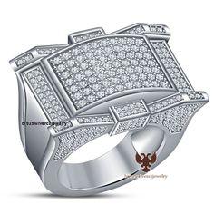 14K White Gold  Gp 925 Silver 1.80ctw Round Cut Sim.Diamond Mens Wedding Ring #br925 #MensPinkyRing