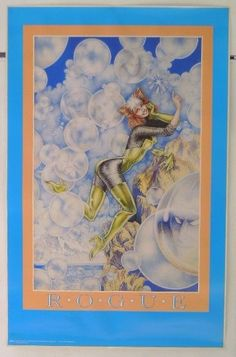 "This is a vintage 1989 original 34 inch by 22 inch ROGUE from the UNCANNY X-MEN POSTER! I believe this 1980's Marvel Press poster features artwork by artist ART ADAMS. And if you look closely, surrounding Rogue in this poster are ""bubbles"" that show images of her fellow X-Men members, such as WOLVERINE, NIGHTCRAWLER, and more!"
