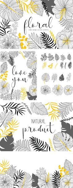TROPICAL FLORAL HAND DRAWN VECTOR by beerjunk on @creativemarket