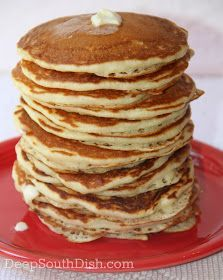 Deep South Dish: Homemade Buttermilk Pancakes made these for breakfast and they were the best pancakes I've ever made! Breakfast Pancakes, Breakfast Dishes, Breakfast Recipes, Breakfast Ideas, Fluffy Pancakes, Breakfast Casserole, Pancake Bar, Pecan Pancakes, Breakfast Plate