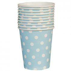Gobelets bleus pois blanc - Lot de 10