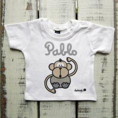 Camiseta bebé manga corta mono azul con tu nombre - Marketplace social de tiendas para niños de 0 a 14 años