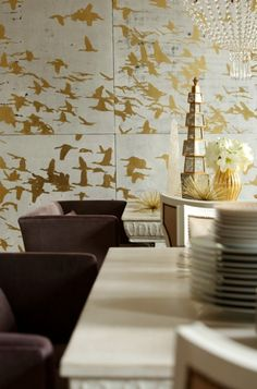 Gold and white walls | CostMad do not sell this idea/product. Please visit our blog for more funky ideas