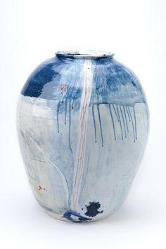 For the sea side home Big Pot / porcelain, coloured slip decoration, chun glaze -by Adam Frew Ceramic Clay, Porcelain Ceramics, Ceramic Vase, White Ceramics, Porcelain Jewelry, Pottery Vase, Ceramic Pottery, Sculptures Céramiques, Ceramic Sculptures