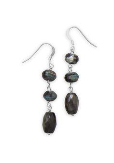 Agate Bead Drop Earrings