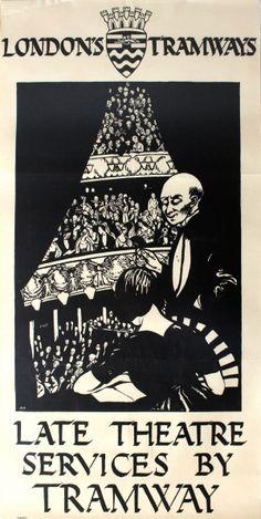 LT London Tramways Late Theatre Services, 1922 - original vintage poster by Margaret Curtis Haythorne listed on AntikBar.co.uk