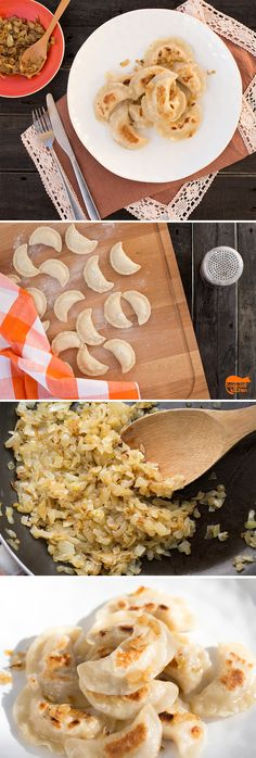 Omit oil-try gluten free flour Polish 'Ruskie' (Russian - I know, it's confusing) pierogis / dumplings with sauteed onions.