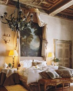 rome - elle decor...take away the table at the foot of the bed and the fugly lamps ...the rest I LOVE :)