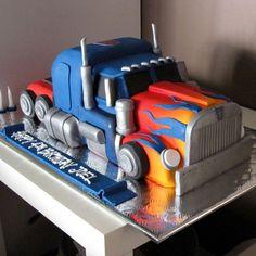Optimus Prime Transformer Cake cakepins.com More