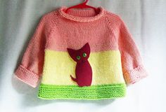 Baby Girl Sweater - 100% Cotton Pullover with Kitten Applique on Etsy, $29.95