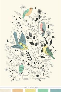 Buy Bird Illustration, Spring-themed art, Bird Poster by Studio Meez Art And Illustration, Pattern Illustration, Pretty Birds, Beautiful Birds, 16 Tattoo, Bird Poster, Spring Birds, Buy Birds, Ouvrages D'art