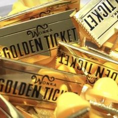 Golden Ticket Hard Enamel Pin from Charlie and the Chocolate Factory, Willy Wonka Oc Fanfiction, Charlie Chocolate Factory, Tim Burton Films, Golden Ticket, Gold Aesthetic, Gold Wallpaper, Willy Wonka, Cool Pins, Pin And Patches