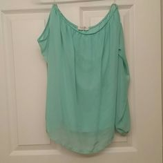 Off the shoulder turqoise top Cute off the shoulder top. Only worn once. Tops Blouses