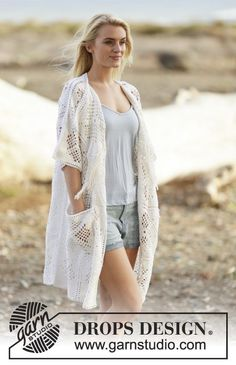 "Crochet DROPS jacket with lace pattern and fringes in ""Safran"". Size S-XXXL. ~ DROPS Design"