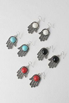 Hamsa Stone Earrings