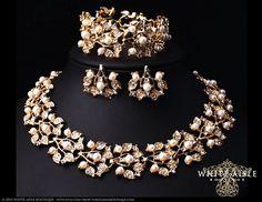 Gold Perlen Hochzeit Schmuck-Set, Vintage inspirierte Braut Halskette Ohrstecker, Braut-Schmuck-Set, Perlen Armband, klobige Anweisung Halskette