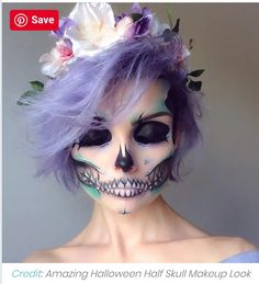 We share 29 extra-ordinary Halloween makeup ideas on social media sites. These are the best Halloween makeup designs that looks stunning and terrifying. Halloween Makeup Looks, Halloween Make Up, Halloween Costumes, Scary Halloween, Halloween Party, Short Hair Cuts, Short Hair Styles, Short Hair Makeup, Horror Makeup