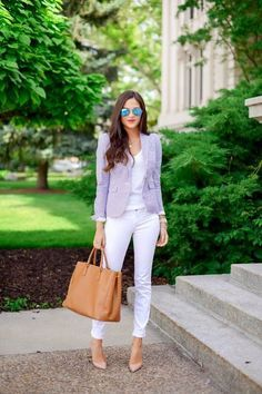 formal white jeans outfit