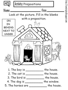 Preposition Coloring Worksheet