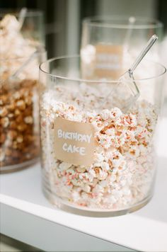 Birthday Cake Popcorn: Popcorn + White Chocolate + TONS of sprinkles.