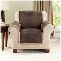 Sure Fit Slipcovers Vintage Leather Furniture Cover - chair pet throw Sure Fit Slipcovers, Loveseat Slipcovers, Best Sofa Covers, Chair Covers, Vintage Chairs, Vintage Quilts, Dog Quilts, Velvet Armchair, Furniture Covers