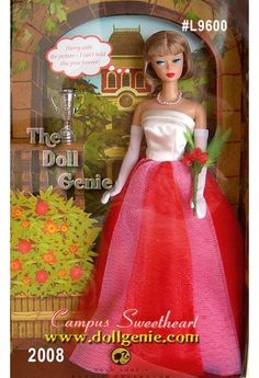 This vintage reproduction Campus Sweetheart Barbie doll wears a re-creation of a favorite Barbie fashion