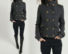 Wool Blend Double Breasted Military Coat by FM908