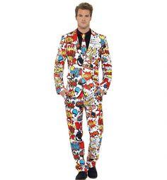 Men's Comic Strip Suit And Tie