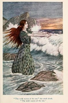 """Jolly Calle & other Swedish fairy tales (1912) Illustrations by Charles James Folkard """"The wild waves of the sea"""" she cried aloud, """"The wild waves of the sea."""""""